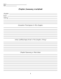 Generic Chapter Summary Worksheet for Novel Study