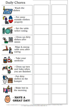 Generic Chore Charts for Home