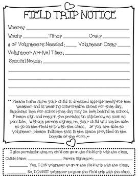 Generic Classroom Field Trip Permission Slip
