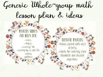 Generic & Editable Template for Math Lesson for Special Ed