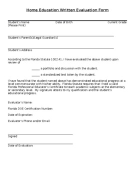 Generic Florida Homeschool Evaluation form by Gardens and Crowns