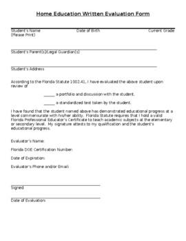 Generic Florida Homeschool Evaluation form