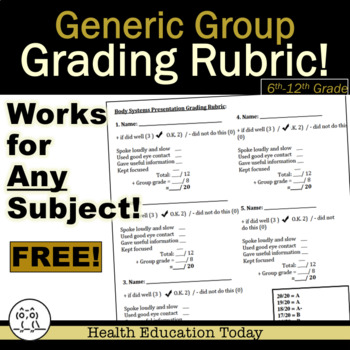 Generic Group Presentation Grading Rubric for Any Subject - FREE!