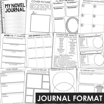 Blank Generic Unit Study Activities for Any Book or Movie, Interactive Notebook