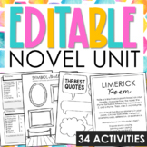 GENERIC Novel Unit Study Activities for Any Book  | Editable Graphic Organizers