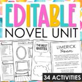 GENERIC Novel Unit Study Activities for Any Book  | Editab