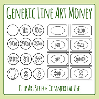Generic (International) Simple Line Art Money Clip Art for