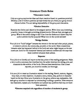 Generic Literature Circle Worksheets (Jobs & Questions)