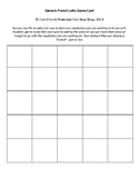 Generic Lotto (Bingo) Card Template for Core French Classrooms