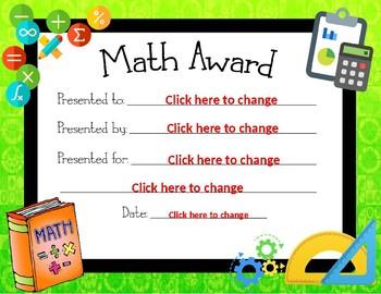 Generic Math Award