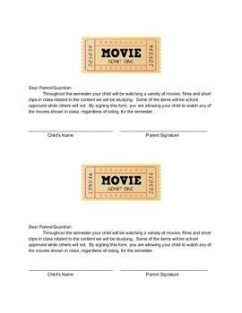 Generic Movie Permission Slip
