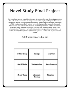 Generic Novel Study Student Choice Projects
