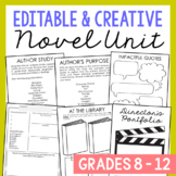 EDITABLE Novel Unit Study Activities for Any Book | Creative Book Report