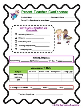 Generic Parent Conference Progress Report