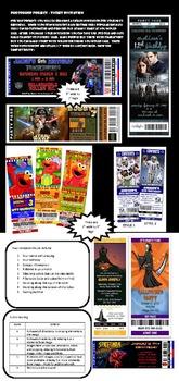 Generic Photoshop lesson handout - Create a PSD file Birthday Ticket Invitation