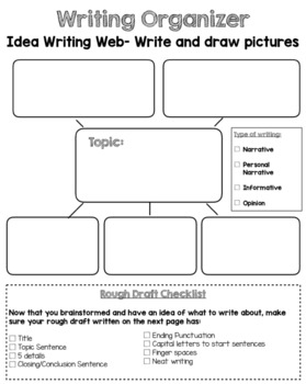 Generic Pre-Writing Web Graphic Organizer with Checklist