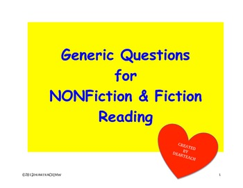 Generic Questions for Nonfiction & Fiction Reading