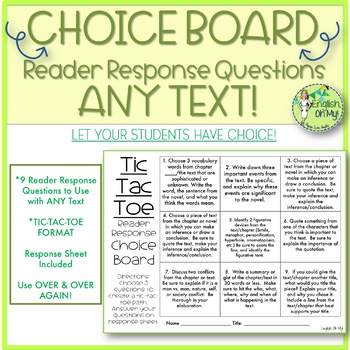Choice Board, Reader Response Questions