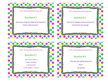 Text Dependent Reading Comprehension Task Cards and Teacher Resource Card