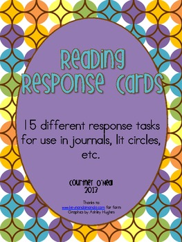 Generic Reading Response Cards for Journals, Lit Circles, Etc.