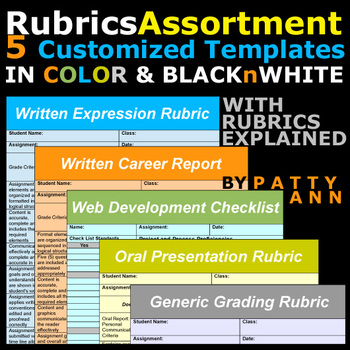 Rubrics Variety >5 Editable Word Docs Templates =Oral+Written+Career+Web+Generic