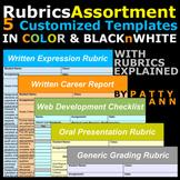 Rubrics Variety >5 Editable Word Docs Templates =Oral+Written+Career+Web+Generic