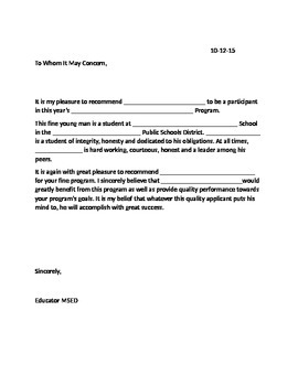 Generic Student Reference Letter
