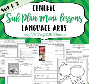 Generic Sub Plans Language Arts Set #3