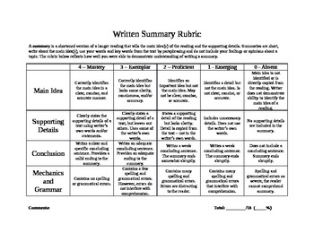 Generic Summary Rubric