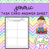 Generic Task Card Answer Sheet
