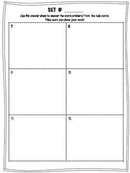 Generic Task Card Answer Sheet