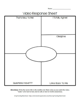 Generic Video Response Worksheet