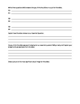 Works For Any Video!!  Response Worksheet Activity (Marz & Comm Core Aligned!)