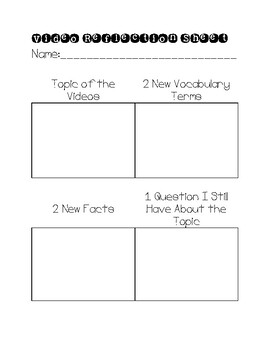 Generic Video Worksheet