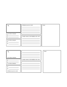 Generic Vocabulary Word Sheet (5 Words)