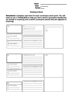 Generic Vocabulary Word Sheet (5 Words)