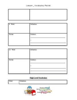 Generic Vocabulary Worksheets for Vocabulary Words