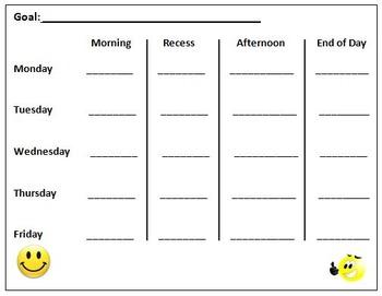 Generic Weekly Goal Setting Behavior Chart