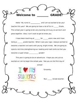 Generic Welcome Letter   Student by The Teacher Shoppe | TpT