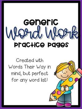 Generic Word Work Pages for use with any word list