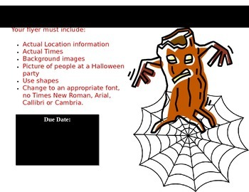 Generic Word processing lesson handout - Create a Halloween Party Flier
