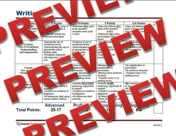 Generic Writing Brief Constructed Response Rubric / Template