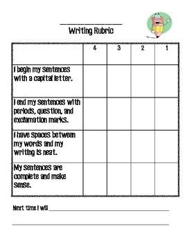 Generic Writing Student and Teacher Rubric