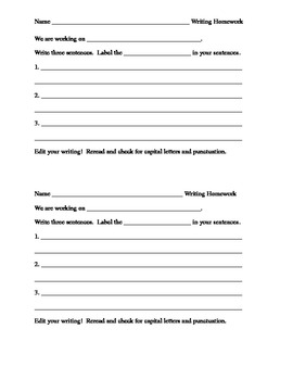Generic writing homework to be used for grammar practice