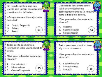 Géneros Literarios - Literary Genre SPANISH Task Cards