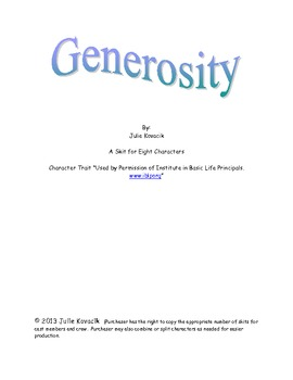 Generosity: A Skit to be Peformed for Elementary Students
