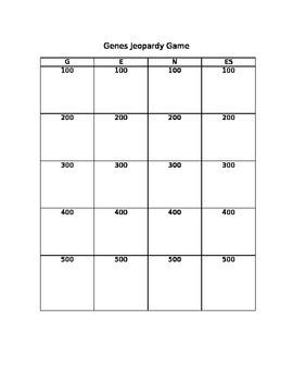 Genes Jeopardy Answer Sheet