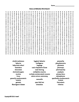 Genes and Behaviors Vocabulary Word Search for Genetics