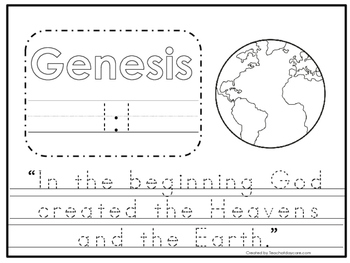 Genesis 1:1 Bible Verse Tracing Worksheet. Preschool-KDG. Bible Curriculum.