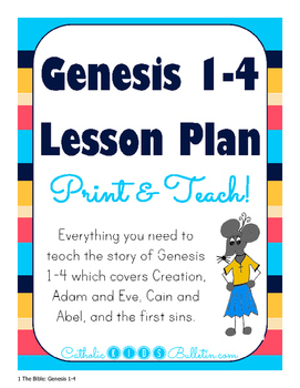 Genesis 1-4: Lesson Plan, PowerPoint, Guided Notes, Review, and Test